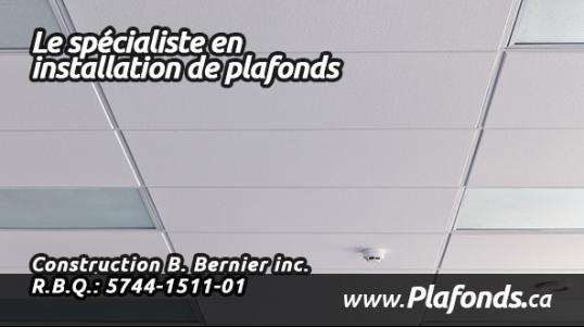Installateur de plafonds suspendus standards ou acoustiques Plafonds de gypse Faux plafonds décoratifs Plafonds de tuiles. Soumission Gratuite